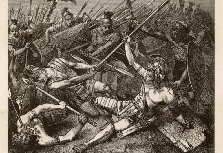 Morte de Espártaco por Hermann Vogel mostrando a captura do gladiador trácio, logo antes de sua crucificação.